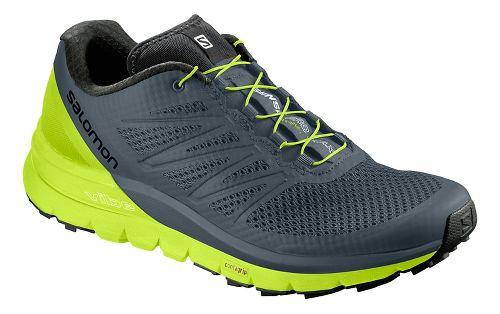 Mens Salomon Sense Pro Max Trail Running Shoe - Grey/Neon 9.5