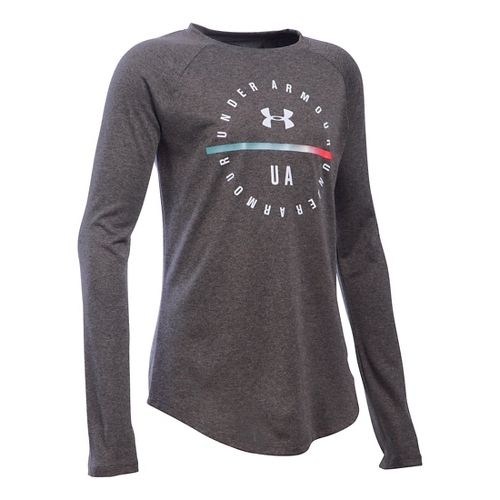 Under Armour Girls Circle Long Sleeve Technical Tops - Carbon Heather/Pink YS