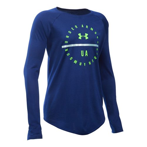 Under Armour Girls Circle Long Sleeve Technical Tops - Caspian/Cosmos YL