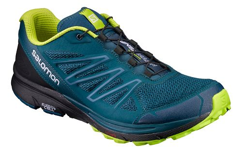 Mens Salomon Sense Marin Trail Running Shoe - Navy/Lime 7