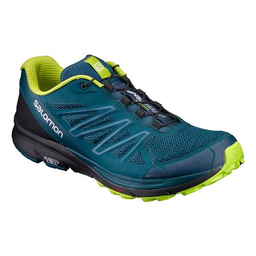 Mens Salomon Sense Marin Trail Running Shoe - Navy/Lime 12.5