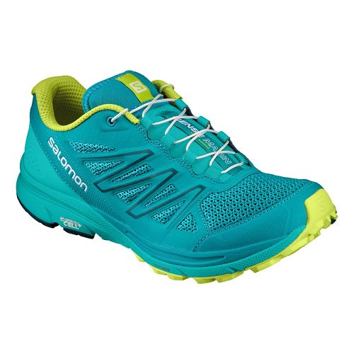 Womens Salomon Sense Marin Trail Running Shoe - Teal/Lime 10.5