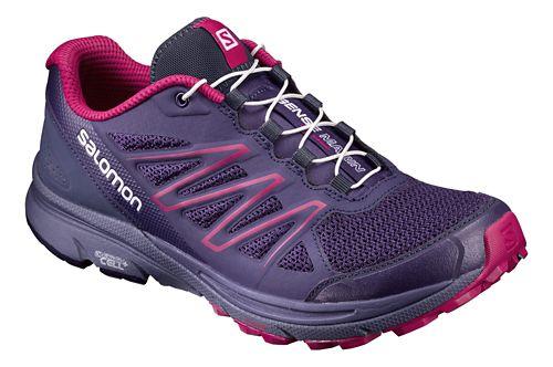 Womens Salomon Sense Marin Trail Running Shoe - Aura/Blue/Sangria 7
