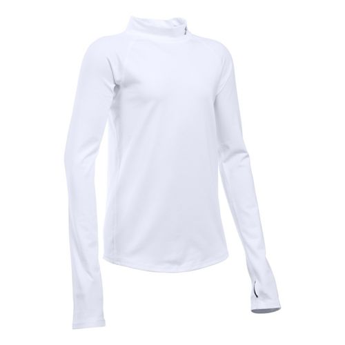 Under Armour Girls ColdGear Mock Long Sleeve Technical Tops - Ivory YM