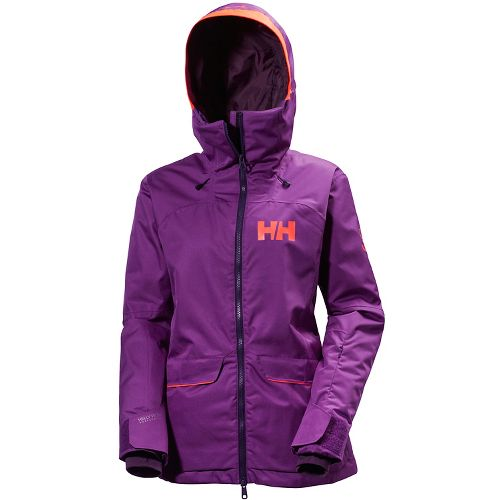 Womens Helly Hansen Powderqueen Cold Weather Jackets - Sunburned Purple S