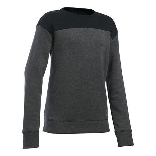 Under Armour Girls Favorite Fleece Crew Long Sleeve Technical Tops - Carbon Heather/Black YL