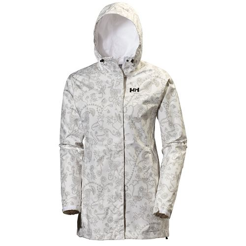 Womens Helly Hansen Bellevue Coat Cold Weather Jackets - White Jasico Print M