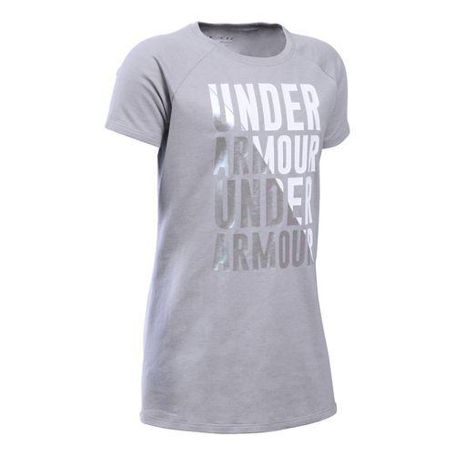 Under Armour Girls Favorite T Short Sleeve Technical Tops - True Grey Heather YM