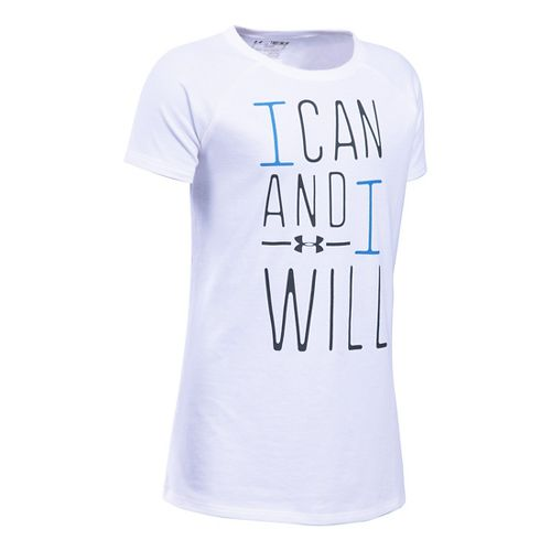 Under Armour Girls I Can And I Will Short Sleeve Technical Tops - White/Water YS ...