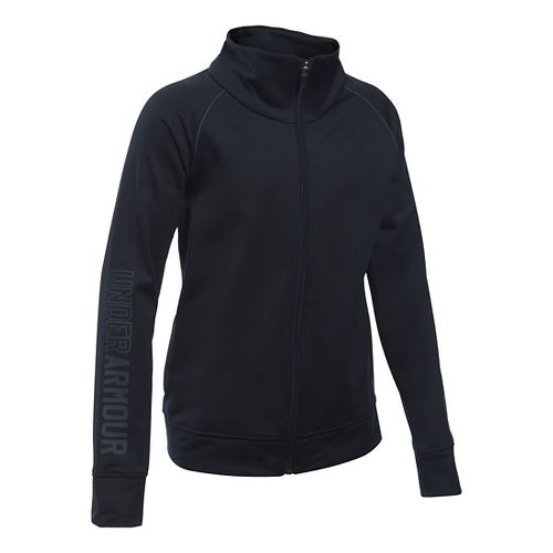 Under Armour Girls Rival Warm Up Running Jackets - Black YL