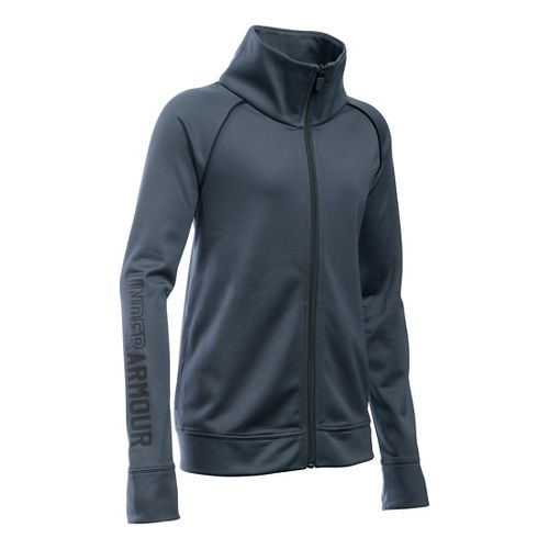 Under Armour Girls Rival Warm Up Running Jackets - Stealth Grey YL