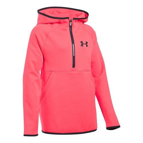 Under Armour Girls Storm Armour Fleece Half-Zips & Hoodies Technical Tops - Pink Chroma YL ...