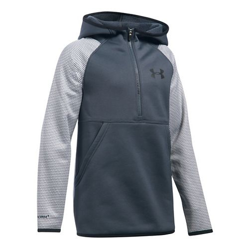 Under Armour Girls Storm Armour Fleece Printed Half-Zips & Hoodies Technical Tops - Stealth ...