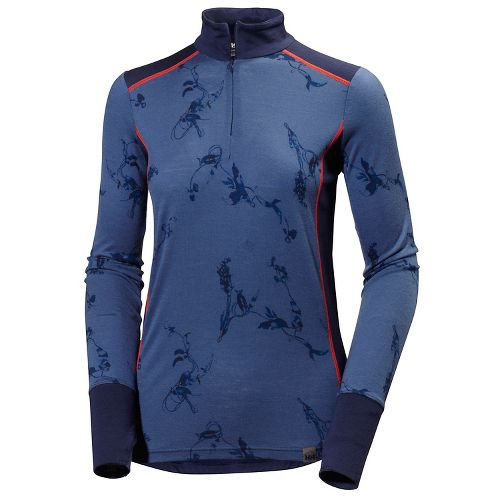 Womens Helly Hansen HH Wool Graphic 1/2 Zip Long Sleeve Technical Tops - Ebony Symbiosis ...