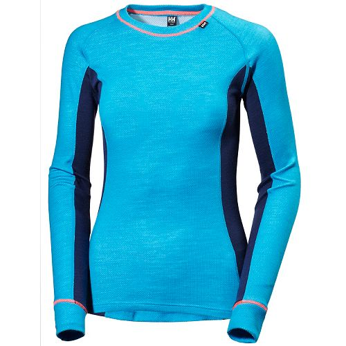Womens Helly Hansen HH Warm Ice Crew Long Sleeve Technical Tops - Winter Aqua M ...