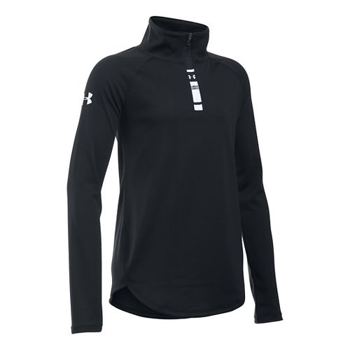 Under Armour Girls Tech 1/4 Zip Long Sleeve Technical Tops - Black YXL