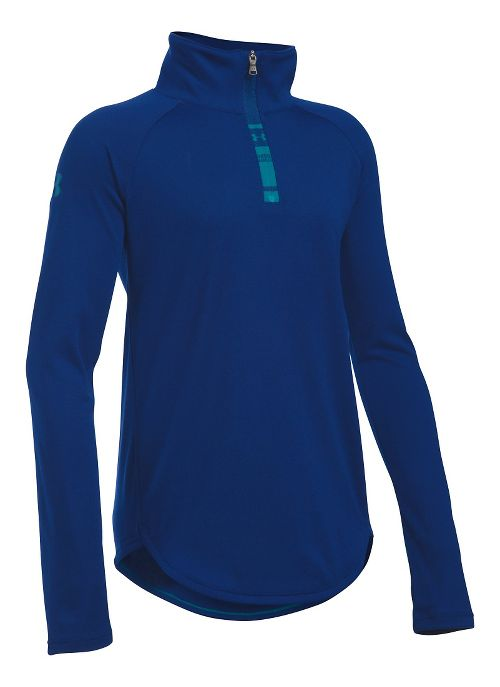 Under Armour Girls Tech 1/4 Zip Long Sleeve Technical Tops - Caspian YM