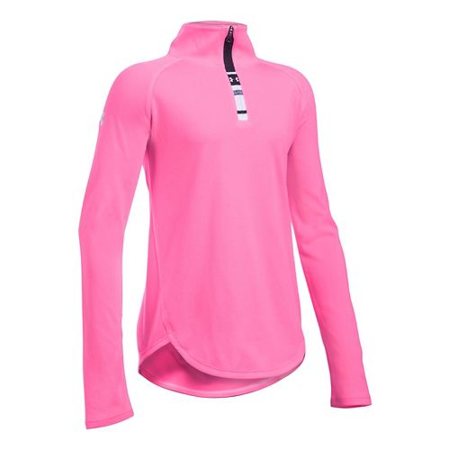 Under Armour Girls Tech 1/4 Zip Long Sleeve Technical Tops - Pink Punk YL