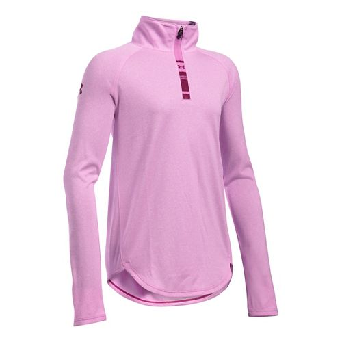 Under Armour Girls Tech Novelty 1/4 Zip Long Sleeve Technical Tops - Verve Violet YL ...