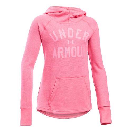 Under Armour Girls Waffle Half-Zips & Hoodies Technical Tops - Super Pink YS