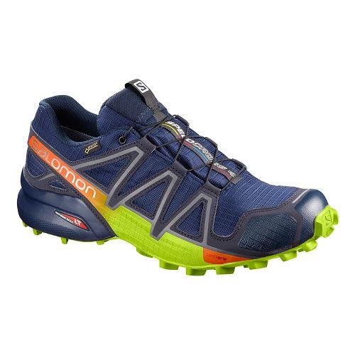 Mens Salomon Speedcross 4 GTX Trail Running Shoe - Blue Lime 11.5