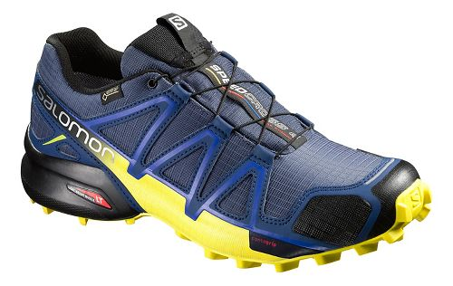 Salomon Mens Speedcross 4 GTX Trail Running Shoe - Blue/Corona Yellow 10.5