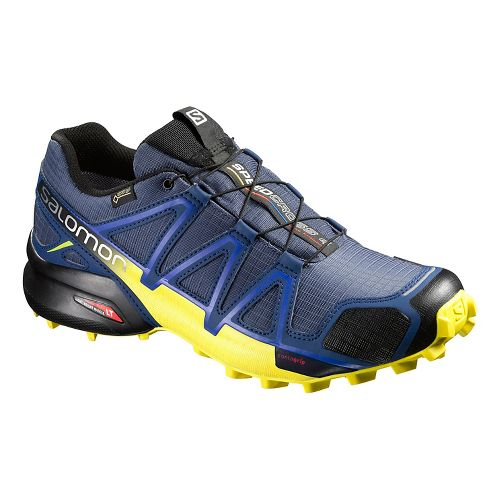 Salomon Mens Speedcross 4 GTX Trail Running Shoe - Blue/Corona Yellow 7.5
