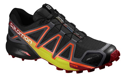 Salomon Mens Speedcross 4 CS Trail Running Shoe - Black/Yellow/Red 8