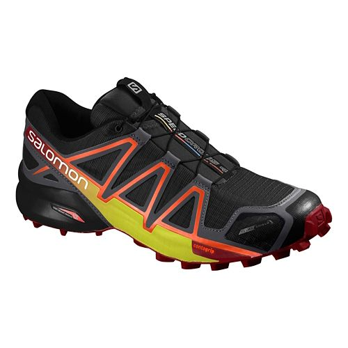Salomon Mens Speedcross 4 CS Trail Running Shoe - Black/Yellow/Red 10.5