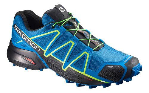 Salomon Mens Speedcross 4 CS Trail Running Shoe - Blue Lime 9.5