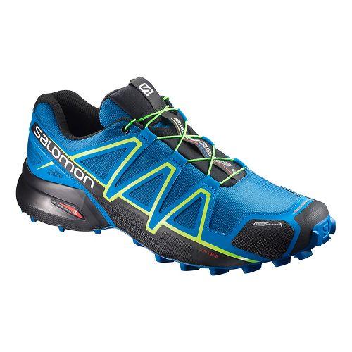 Salomon Mens Speedcross 4 CS Trail Running Shoe - Blue Lime 7.5
