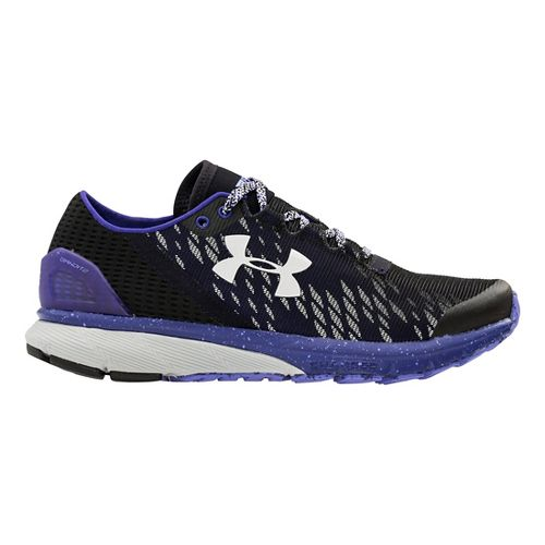 Womens Under Armour Charged Bandit 2 Night Running Shoe - Black/Grape Fusion 10