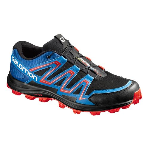 Salomon Mens Speedtrack Trail Running Shoe - Black/Blue 9