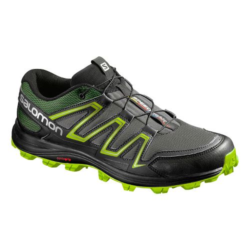 Salomon Mens Speedtrack Trail Running Shoe - Black/Granny Green 14
