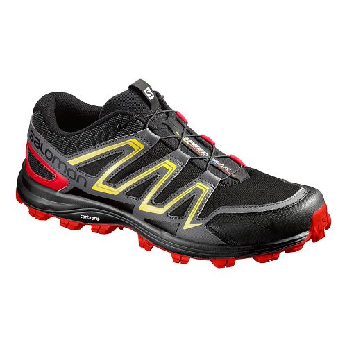 Salomon Mens Speedtrack Trail Running Shoe - Black/Red/Yellow 8.5