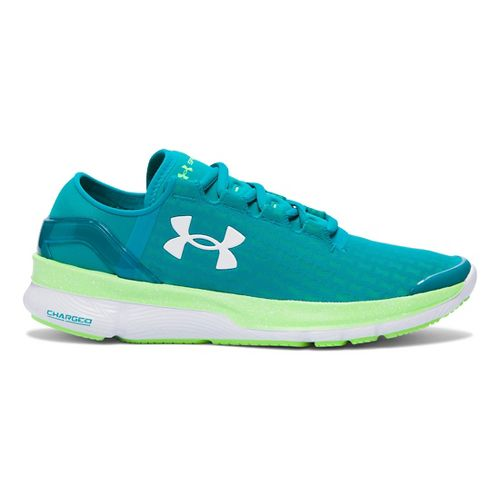 Womens Under Armour Speedform Apollo 2 Clutch Running Shoe - Teal/Lime 7