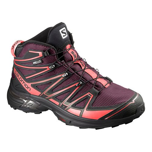 Salomon Womens X-Chase Mid CS WP Hiking Shoe - Purple/Coral Punch 5