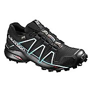 Womens Salomon Speedcross 4 GTX Trail Running Shoe - Black/Light Blue 10.5