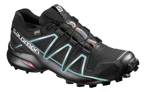 Womens Salomon Speedcross 4 GTX Trail Running Shoe - Black/Light Blue 10