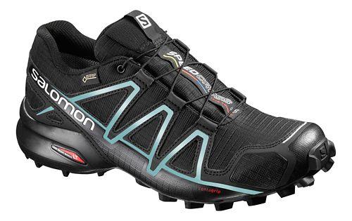 Womens Salomon Speedcross 4 GTX Trail Running Shoe - Black/Light Blue 6.5