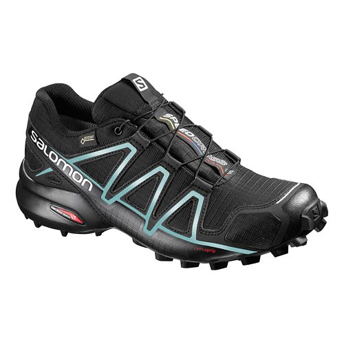 Womens Salomon Speedcross 4 GTX Trail Running Shoe - Black/Light Blue 5.5