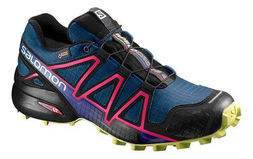 Womens Salomon Speedcross 4 GTX Trail Running Shoe - Poseidon/Pink/Lime 7.5