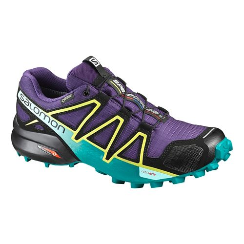 Womens Salomon Speedcross 4 GTX Trail Running Shoe - Acai/Turquoise 7.5