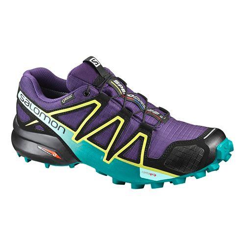 Womens Salomon Speedcross 4 GTX Trail Running Shoe - Black/Light Blue 9