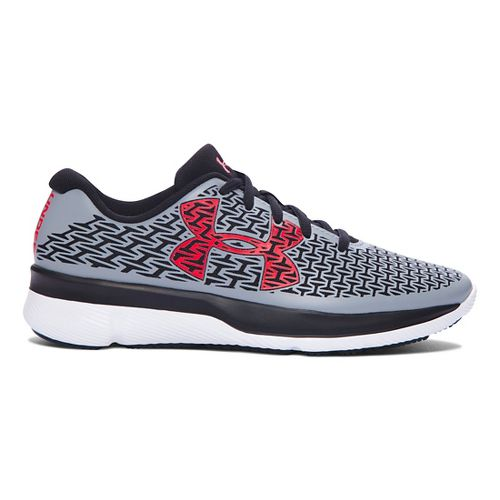 Kids Under Armour ClutchFit RebelSpeed Running Shoe - Steel/Anthem Red 3.5Y