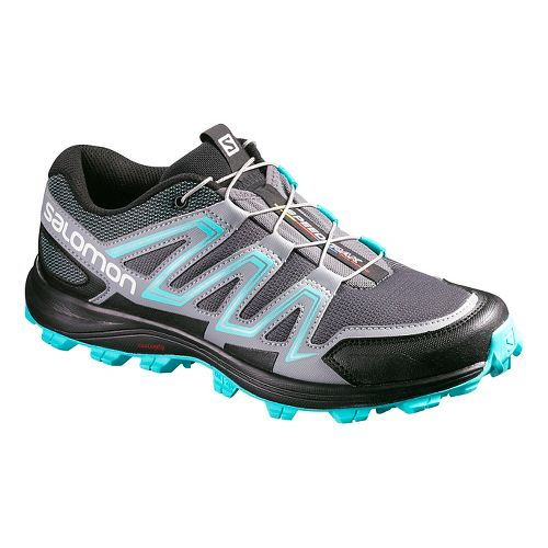 Womens Salomon Speedtrack Trail Running Shoe - Dark Cloud./Blue 10.5
