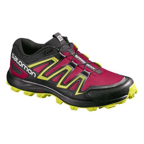 Womens Salomon Speedtrack Trail Running Shoe - Sangria/Yellow 5.5
