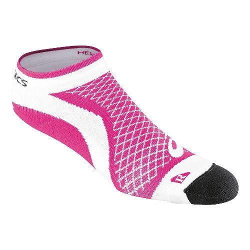 Womens ASICS Hera Deux Mini Quarter 3 Pack Socks - White/Pink L
