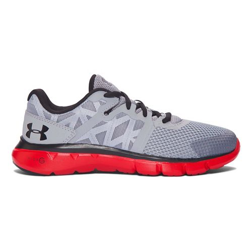 Kids Under Armour Micro G Shift RN Running Shoe - Steel/Red 4.5Y