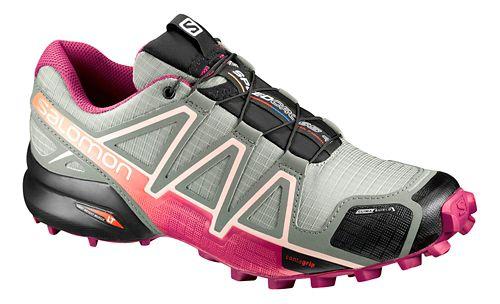 Womens Salomon Speedcross 4 CS Running Shoe - Grey/Sangria 10